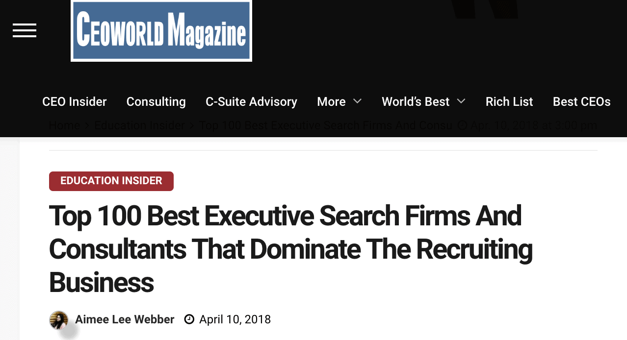 What Top Executive Search Firm Lists Can You Trust? The Good Search